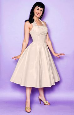 Ivory Cotton Flirty Halter Swing Dress - XS to 2X - Unique Vintage - Cocktail, Pinup, Holiday & Prom Dresses.