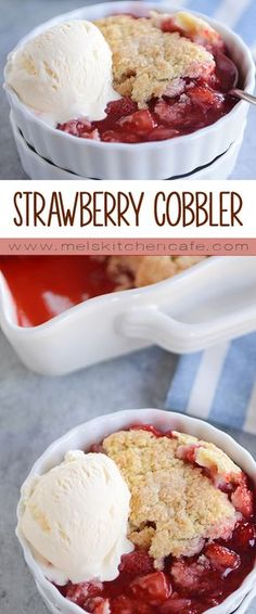 Fresh, juicy strawberries have never been more delicious than in this strawberry cobbler. Topped with buttery, tender biscuits, this cobbler is perfect!