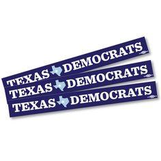 "Texas Democrats Sticker -- Pack of Three! 11"" x 1.25"" vinyl sticker"