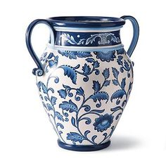 Blue and White Painted Planter with Handles