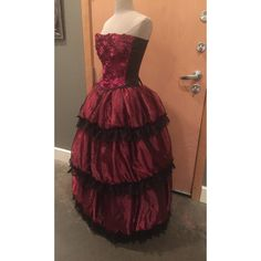Ready to Ship S M Deep Red and Black Steampunk Gothic Retro Rose... ($200) ❤ liked on Polyvore featuring dresses, gowns, gothic dress, red and black corset, corset dress, corset ball gown and steampunk gown