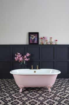 Pink Roll Top Bath and Navy Panelled Walls | Bathroom