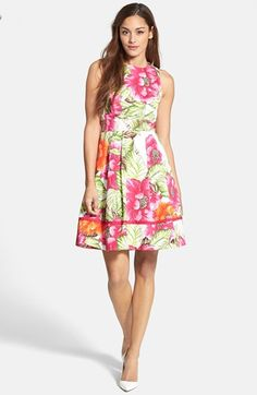 Eliza J Floral Print Cotton Sateen Fit & Flare Dress available at #Nordstrom