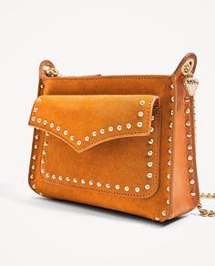 ZARA Orange Leather Crossbody Bag With Studs Detail New S/S2017  | eBay
