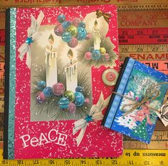 One-of-a-kind decoupaged Christmas journals. Perfect for holiday gift and card lists. Only at MTFF by Terri Yellalonis