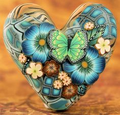 Polymer Clay Dimensional Heart Focal