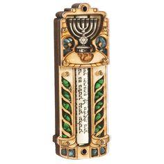 """Mezuzah Wood 5"""" Sealed scroll 5"""" Menorah. Leaf Pattern Deuteronomy 6:4-9 printed in Hebrew on parchment."""