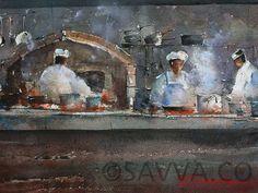 Protaras Chefs in Watercolour. Painted by Savva Great Pizza, Pizza Restaurant, Watercolour Painting, Chefs, Home Art, Bartenders, Artist, Open Kitchen, Foodies