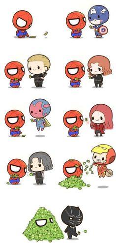Spiderman and the Avengers. Lol, T'challa kicking away Bucky's apple 🤣 Marvel Jokes, Marvel Avengers, Marvel Comics, Funny Marvel Memes, Avengers Memes, Marvel Heroes, Funny Comics, Captain Marvel, Amazing Spiderman
