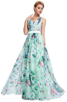 Elegancka długa turkusowa suknia w kwiaty | wytworna suknia kwiatowa