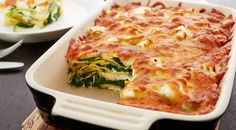 Spinach lasagne with white cheese and courgette. Add Salmon if you like