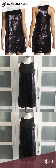 """Laundry by Shelli Segal sequin dress NWT Laundry by Shelli Segal dress. Black base with mini black sequins. Missing just a few (4) sequins by right side of zipper pictured. Sleeveless. Size 2. Body and trim 100% polyester. Pit to pit 16"""", shoulder to hem 34"""" Laundry by Shelli Segal Dresses Mini"""