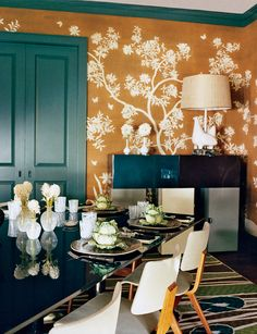 Hand-painted Gracie wallpaper stands out against sleek furnishings by François Bauchet and Martin Szekely in Annette and Matt Lauer's Sag Harbor home.