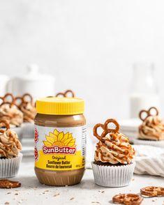 SunButter Pretzel Chocolate Cupcakes - Food Duchess