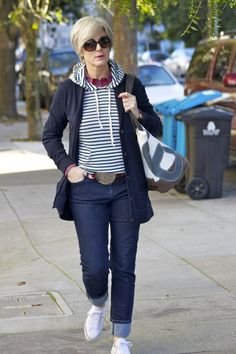 Blue hues with stripes over 50 womens fashion, 50 fashion, denim fashion, spring Outfit Jeans, Weekend Style, Weekend Outfit, Casual Weekend, Casual Winter, Casual Summer, Over 50 Womens Fashion, Fashion Over 40, 50 Fashion