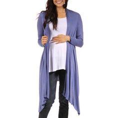 24/7 Comfort Apparel Women's Flowing Long Sleeve Maternity Shrug, Size: XL, Blue