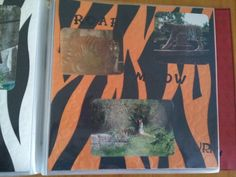 Homemade Tiger page #2. I had these 2 textured papers and just sliced up a 12x12 black sheet. Then I just layed them out as you see. Not as bad as I thought =0)