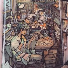 Cluttered I use prang watercolours and I don't know the brand of my sketchbook or where I got it, since it was a gift, please stop asking #painting #watercolor #drawing #sketchbook #art
