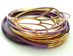 Stackable Bangle Bracelet Set,  Bohemian Jewelry, gold Bangle bracelet, leather bangles, leather wrap, Butterfly, Accessories, Yoga style