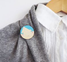 Face Brooch Modern Wooden Head Pin Blue White Black by SketchInc