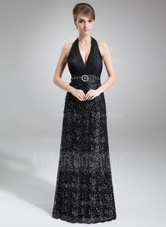 A-Line/Princess Halter Sweep Train Chiffon Lace Mother of the Bride Dress With Ruffle Beading (008016858)