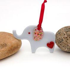 Fused Glass Elephant Ornament by buffaloartglass on Etsy