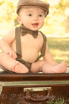 Baby boy - baby newsboy hat - baby boy photo prop - photo prop - baby hat and bow tie - toddler newsboy hat - newborn photo prop. $50.00, via Etsy.