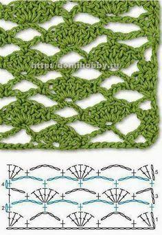 Crochet Stitches Chart, Crochet Edging Patterns, Crochet Diagram, Filet Crochet, Crochet Motif, Crochet Designs, Knitting Patterns, Knit Crochet, Patron Crochet