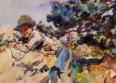 View BOY ON A ROCK by John Singer Sargent on artnet. Browse upcoming and past auction lots by John Singer Sargent. John Singer Sargent Watercolors, Monet, Sargent Art, Oil Painting Techniques, Watercolour Techniques, Painting Tips, Art Techniques, Internet Art, American Artists
