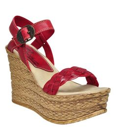 Another great find on #zulily! Red Salinas Leather Wedge Sandal #zulilyfinds