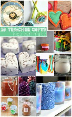20 Teacher Gifts Kids Can Make. Love this! I used to LOVE getting handmade gifts as a teacher. Way better than the store-bought stuff, and cheaper, too!