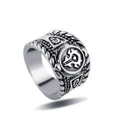 Size 8 Punk Man Ring Black Titanium Male Ring High Quality Jewelry World of Warcraft Logo Rings For Men Skull Ring
