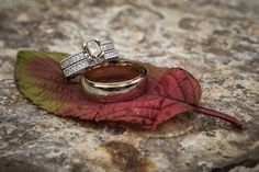 Ethical engagement ring on a fall leaf | This Bride's Socially-Conscious Wedding Cost Just $12,000! | Green Bride Guide