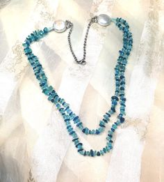 Neon Apatite Double Necklace Handmade Jewelry by NorthCoastCottage