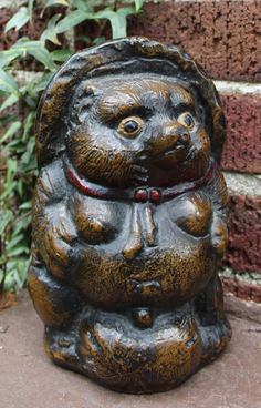 Vintage 1950s Japanese Tanuki Sculpture Cast Iron Good Luck Raccoon