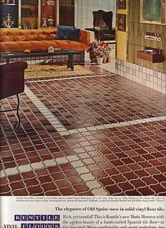 Kentile's Vinyl Flooring (1966)- the ever-popular #lantern shape has apparently taken on many forms! You can find this exotically inspired #tile on www.somertile.com.