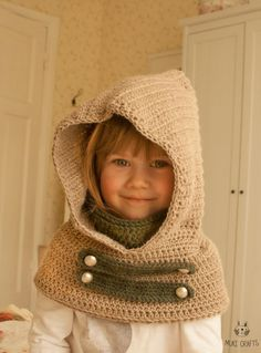 This is crochet pattern for hooded cowl Cole. Worked with aran weight yarn in two colors. The hooded cowl has an inner cowl which is attached to the hood and makes it more warm and comfortable to wear, feel free to leave the extra cowl out tho if it is too much. Decorated with straps and buttons, perfect hooded cowl for a boy or girl. *** This listing is only a PDF PATTERN in ENGLISH and not a finished product *** Skill level: easy Pattern includes sizes: baby/toddler/child/a...