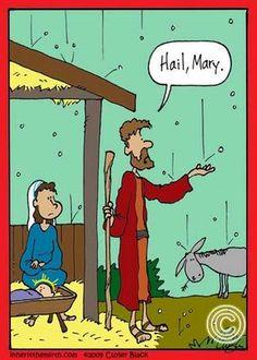 Former catholic humor.now I will think of this when I hear Hail Mary! Christian Comics, Christian Cartoons, Christian Jokes, Funny Shit, Funny Jokes, Funny Stuff, Hilarious, Jw Jokes, Bible Jokes