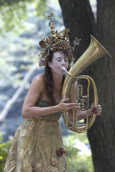 Wood Nymph Playing Her Euphonium for Money in Central Park Tuba Pictures, Brass Music, Sousaphone, Brass Instrument, Wood Nymphs, Band Camp, French Horn, Trombone, The Beast