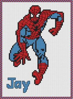 Personalised Spiderman Cross Stitch Sampler Kit on Etsy, $10.99