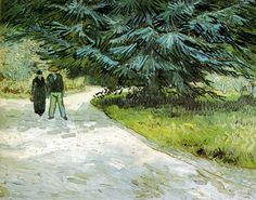 """gogh public garden with couple and blue fir tree the poet s garden iii 1888 89 (from <a href=""""http://www.oldpainters.org/picture.php?/26305/category/10322""""></a>)"""