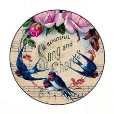 Vintage Bird Song Inspired Pocket Mirror