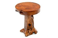 This beautiful round log table features a thick slab top which resides on a naturally flaring stump base. The wood is beautiful teak. Log Table, Reclaimed Wood Dining Table, Rustic Table, Wooden Tables, Carpentry Courses, Rustic Log Furniture, Round Coffee Table, Barn Wood, Don't Forget