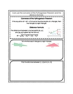 Converse Of Pythagorean Theorem U0026 Distance Formula Doodle Notes