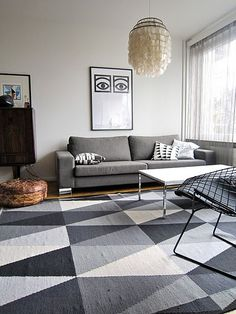 ikea stockholm rug, fialena pillow cover, grey sofa