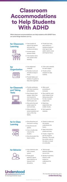Examples of accommodations that can be used in the classroom to help kids with ADHD