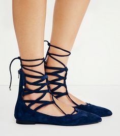 Jeffrey Campbell Shay Lace Up Flat, Navy