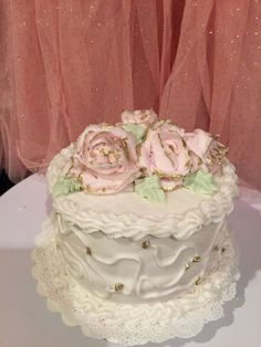 Pink And Gold Tipped Rose Cake