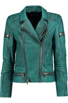 BalmainWashed-leather biker jacket