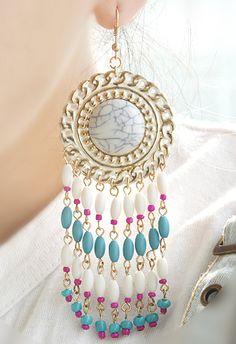 Pendientes flecos aplique perlas de piedra blanco EUR€5.25